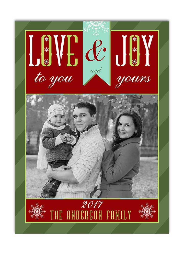 love and joy photo christmas card