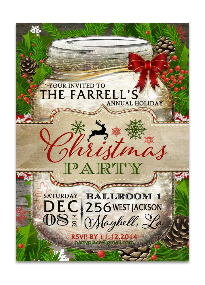 Mason Jar Christmas Party Invitation