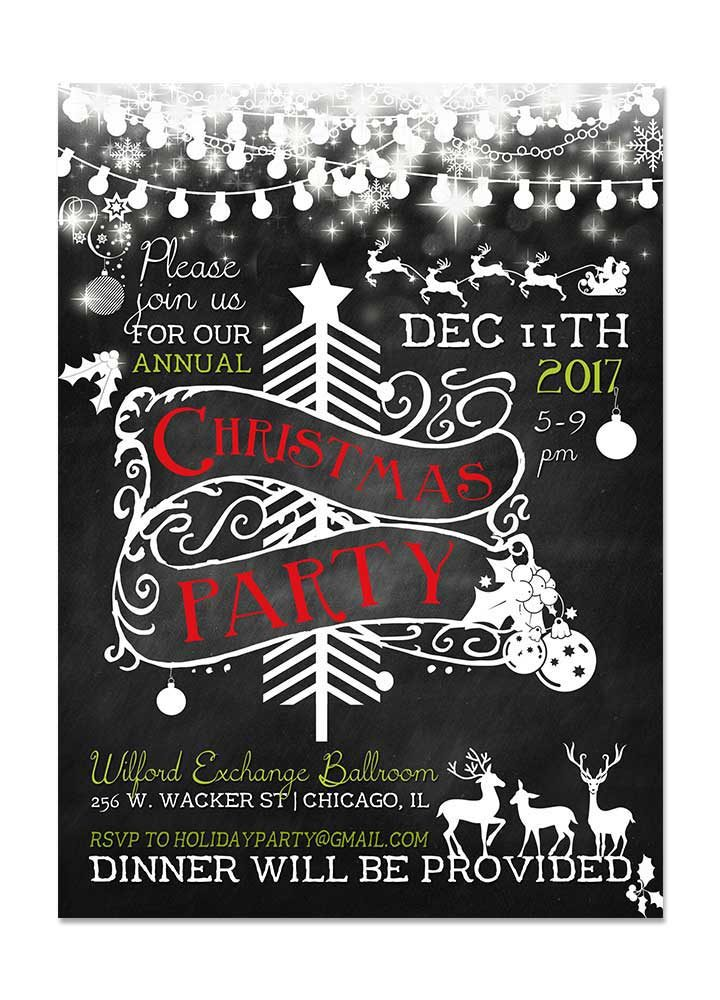 Save The Date Christmas Party Cards. Chalkboard Christmas Party Invite