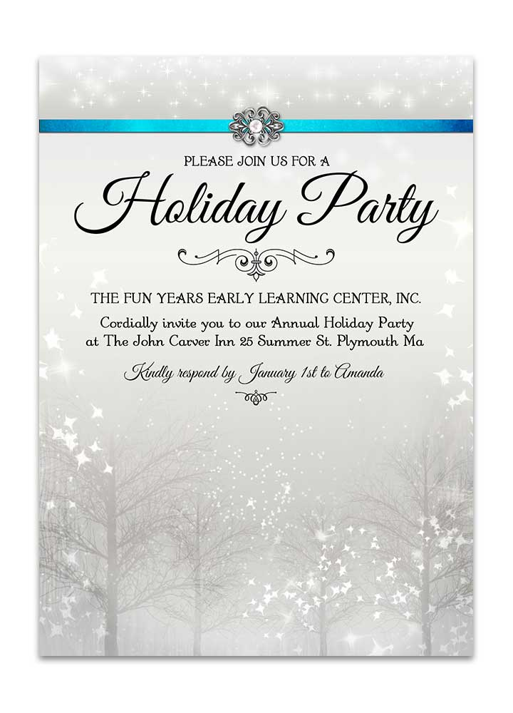 Winter Wonderland Christmas Party Invite - Pearl
