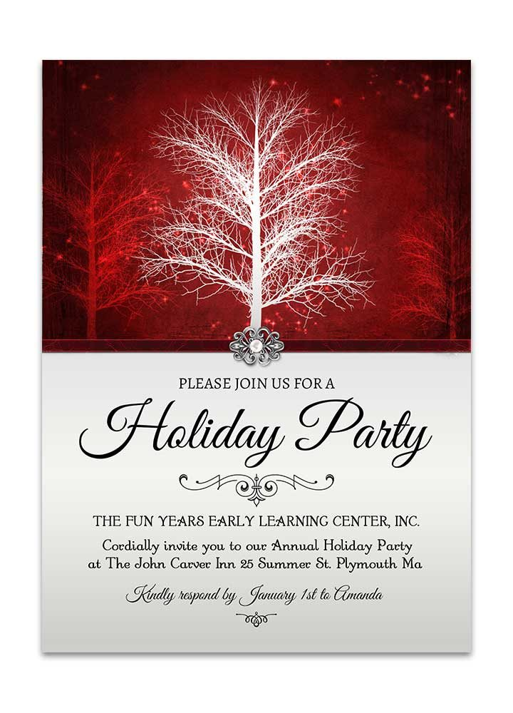 Winter Wonderland Christmas Party Invite in Red