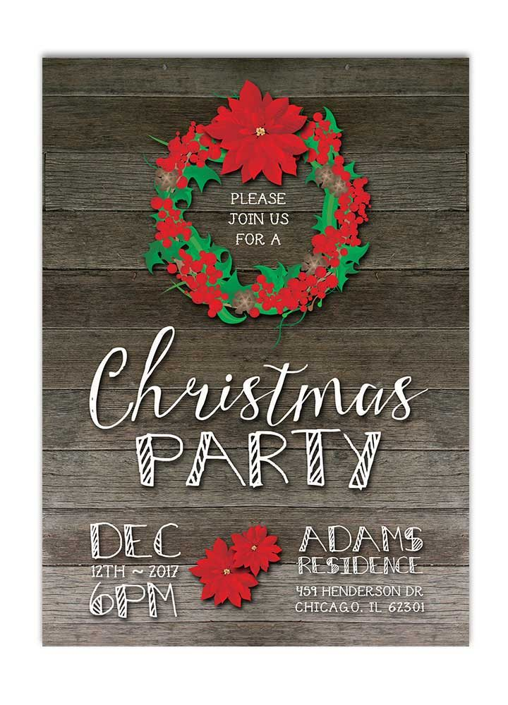 Rustic Christmas Wreath Party Invitation - Red