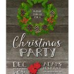 Rustic Christmas Wreath Party Invitation - Green