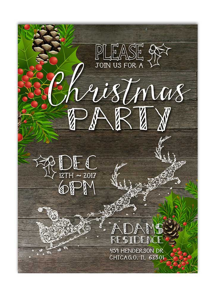 Rustic Christmas Wreath Party Invitation - Santa
