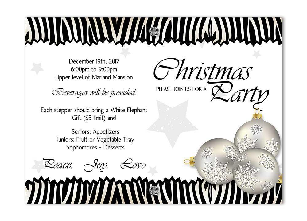 Zebra Christmas Party Invitation with Ornaments