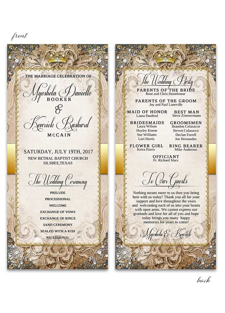 Vintage Fairytale Wedding Program