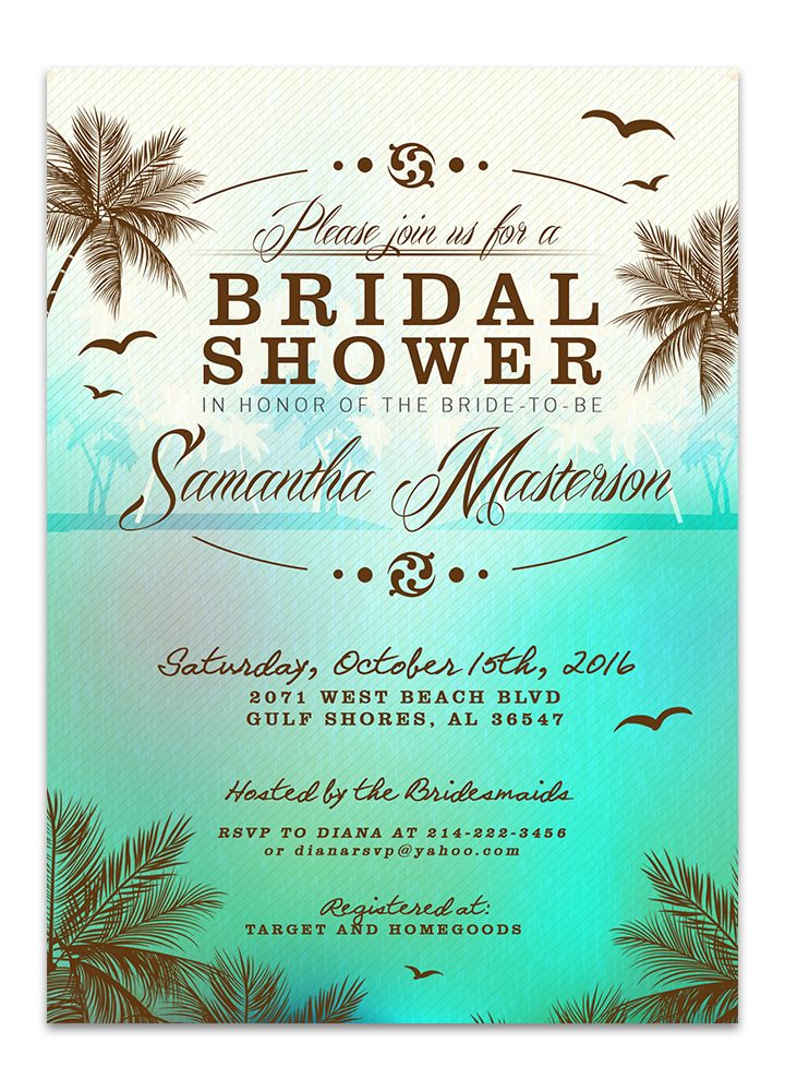 Beach Bridal Shower Invitation - Green