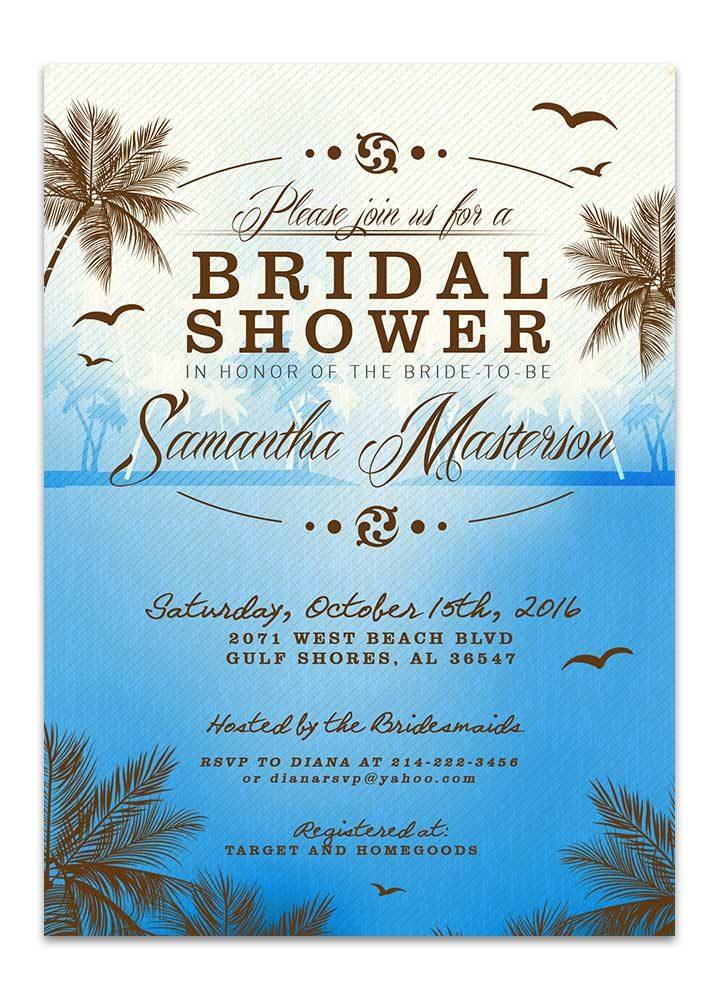 Beach Bridal Shower Invitation - Blue