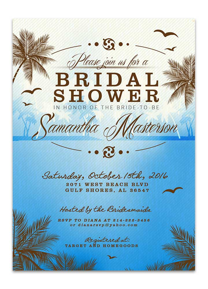 Tropical beach bridal shower ocean blue invitation perfect for summer tropical beach bridal shower ocean blue invitation filmwisefo