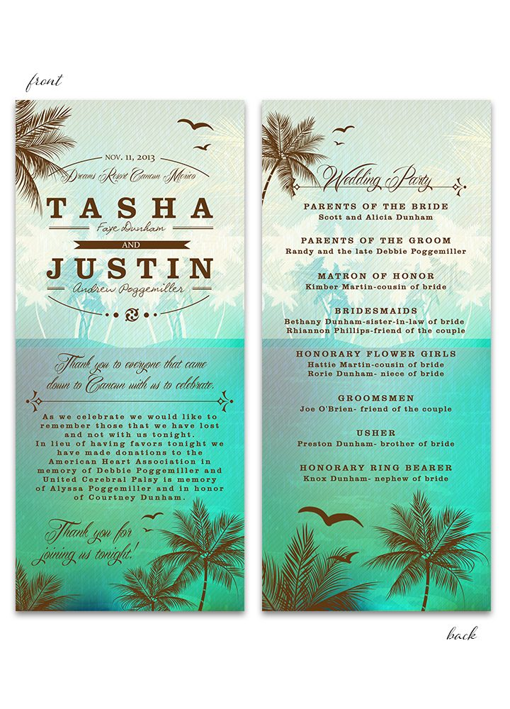 Beach Wedding Program - Green