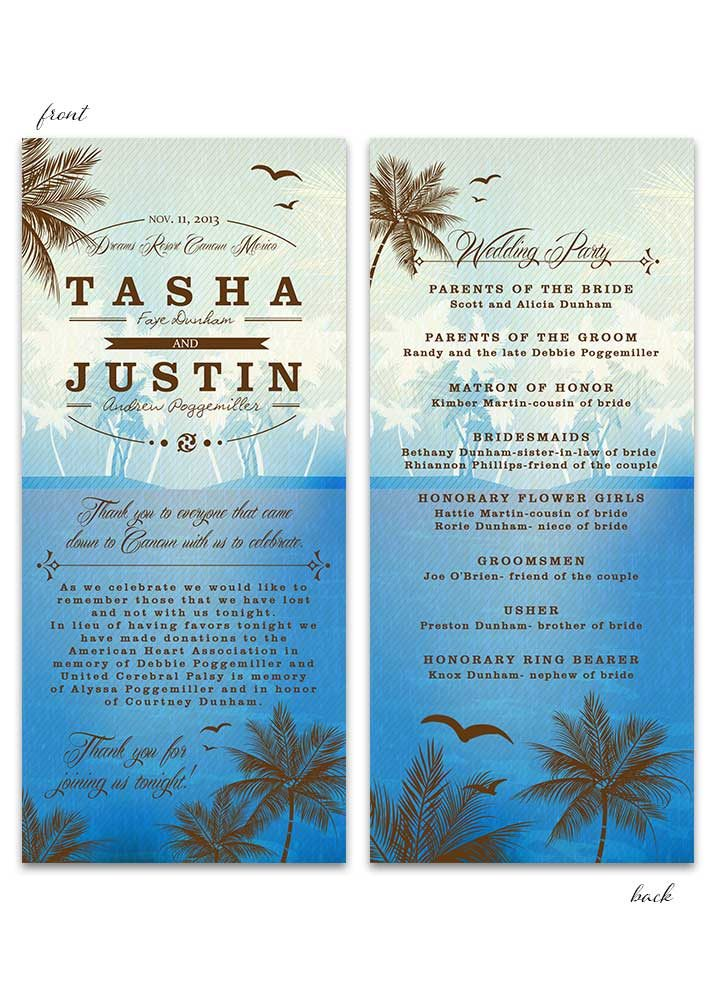 Beach Wedding Program - Blue