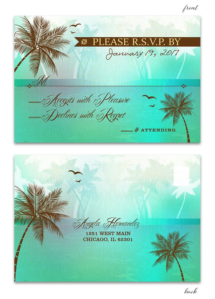 Beach Wedding RSVP Postcard - Green