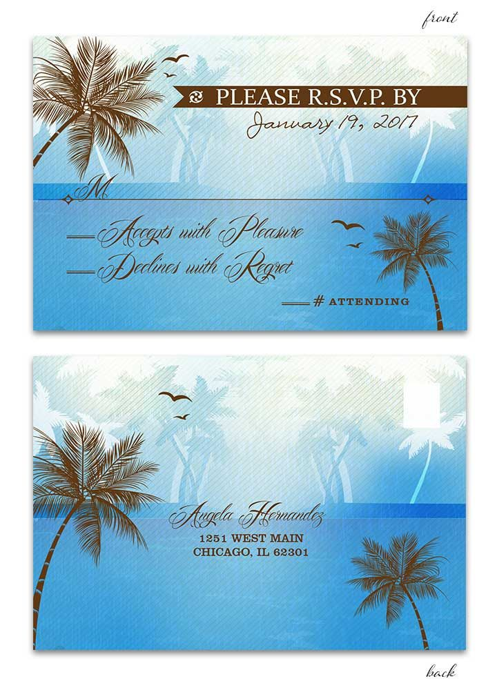 Beach Wedding RSVP Postcard - Blue