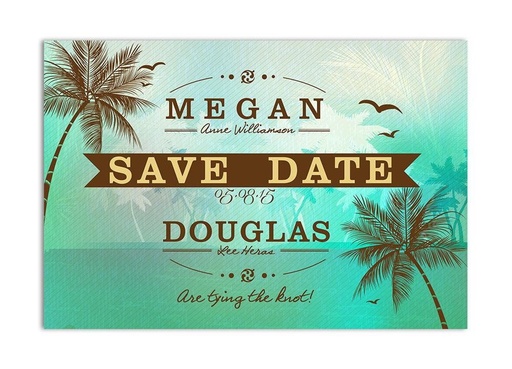 Beach Save the Date Card - Green