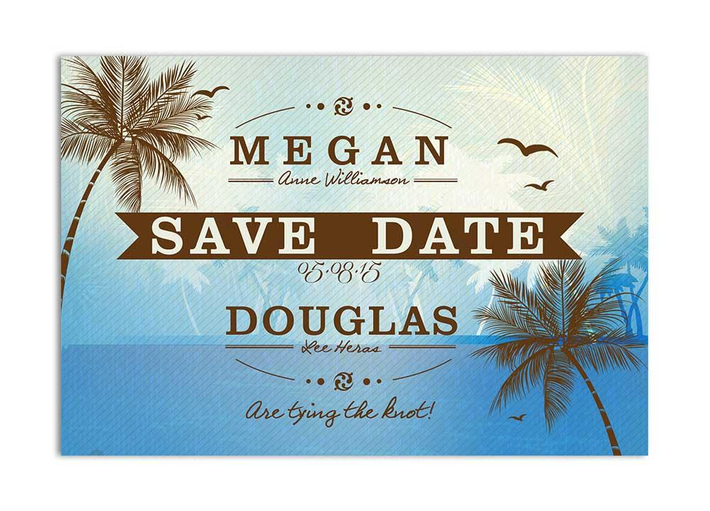 Beach Save the Date Card - Blue