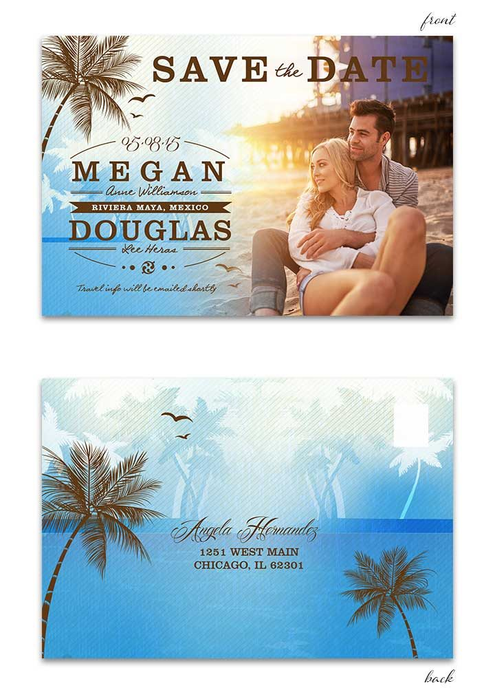 Beach Save the Date Postcard - Blue