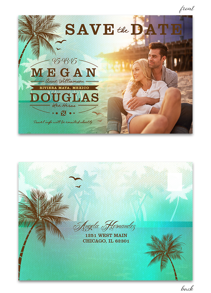 Beach Save the Date Postcard - Green