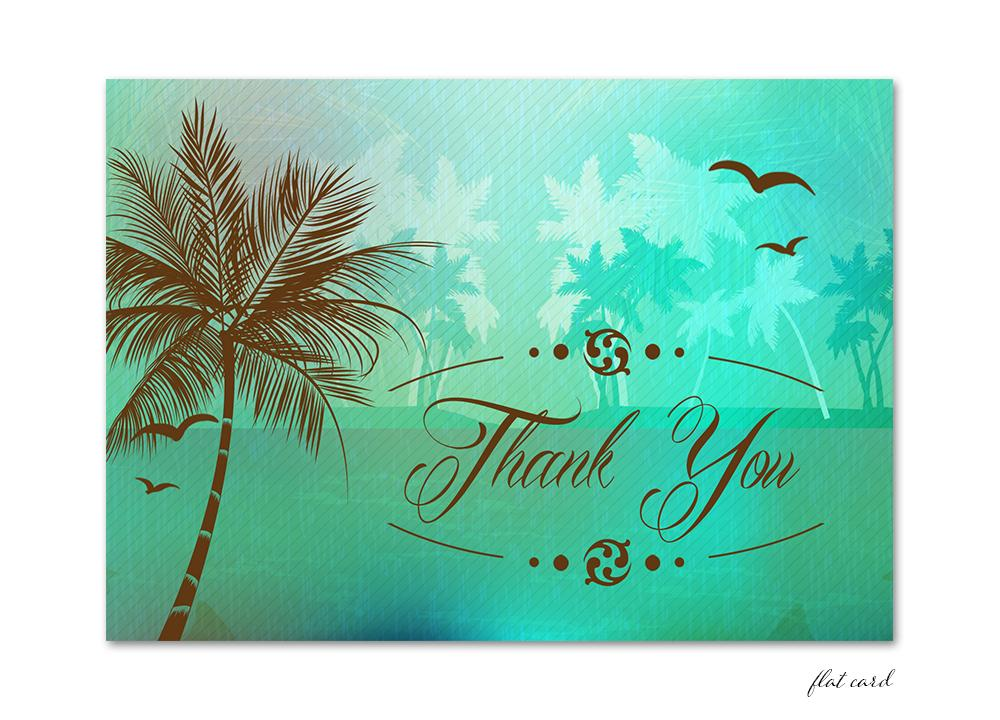 Beach Thank You Card - Green
