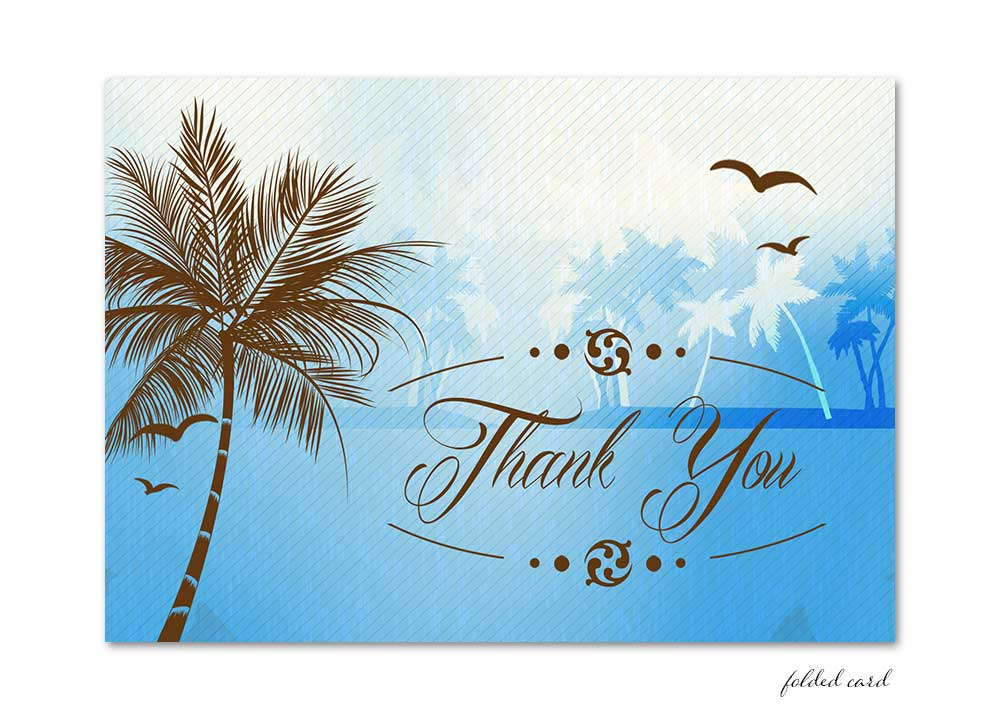 Beach Folded Thank You Card - Blue