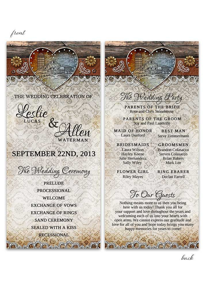 Rustic Barn Lace Wedding Program