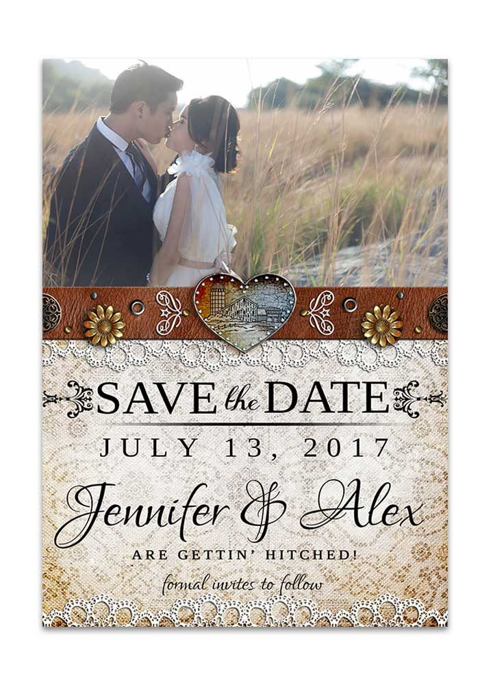 Rustic Barn Lace Save the Date Card