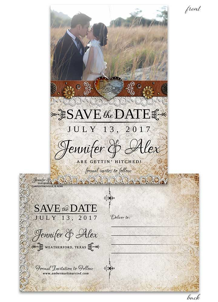 Rustic Barn Lace Save the Date Postcard