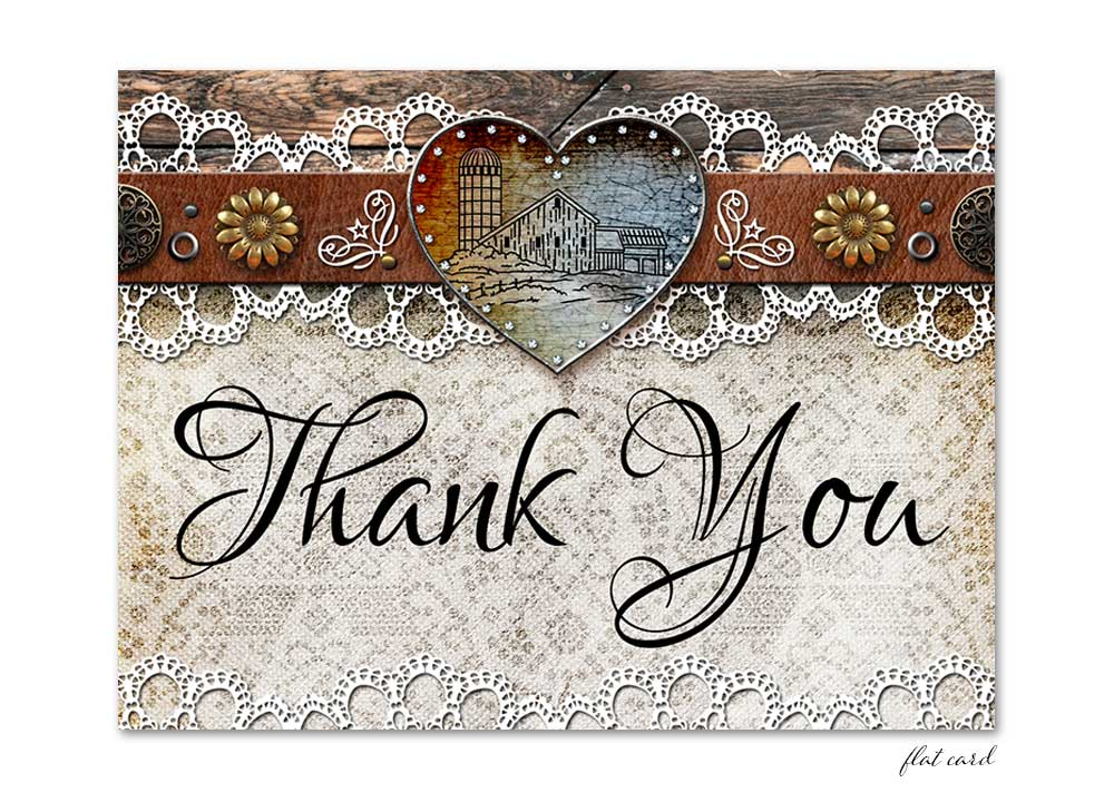 Rustic Barn Lace Flat Thank You Card