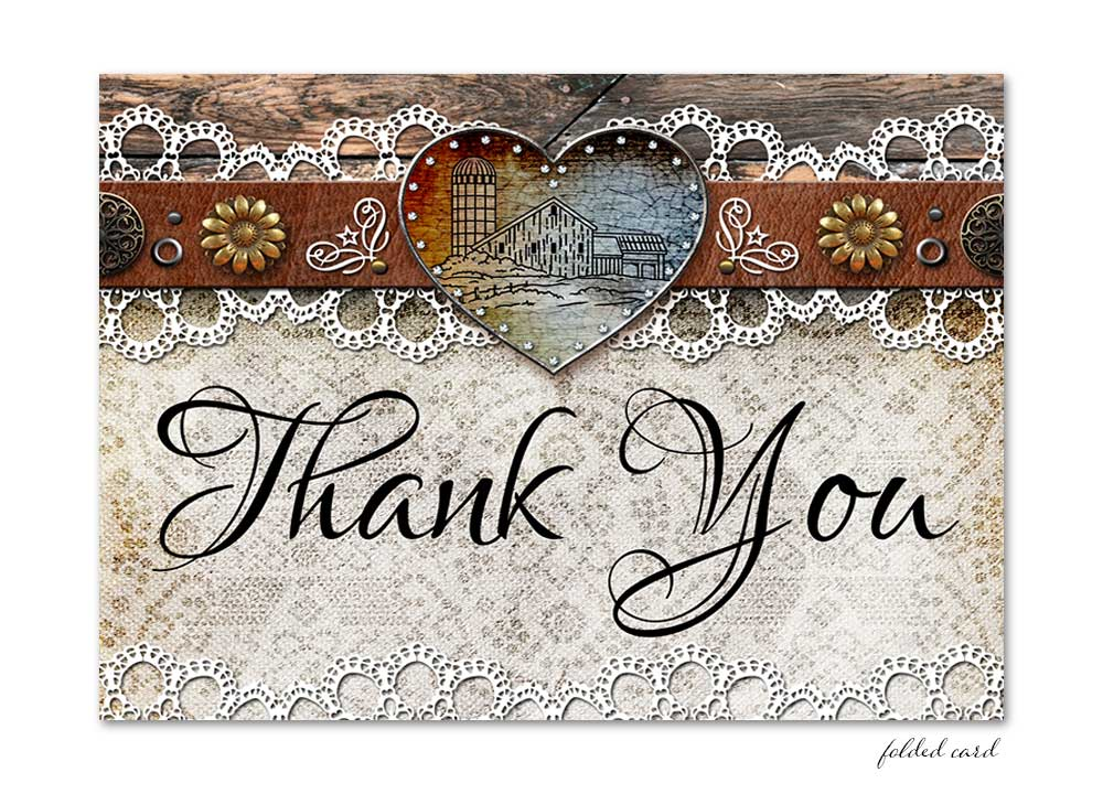 Rustic Barn Lace Folded Thank You Card