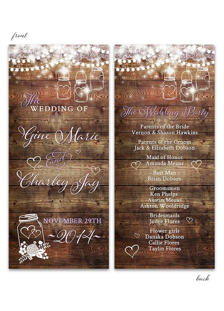 Rustic Mason Jar Wedding Program