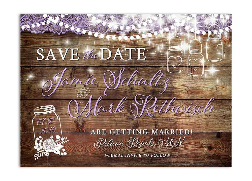 Rustic Mason Jar Save the Date Card