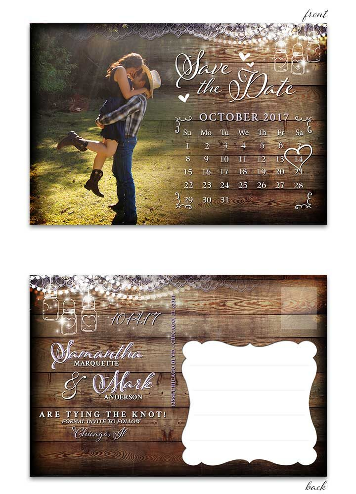 Rustic Mason Jar Save the Date Postcard