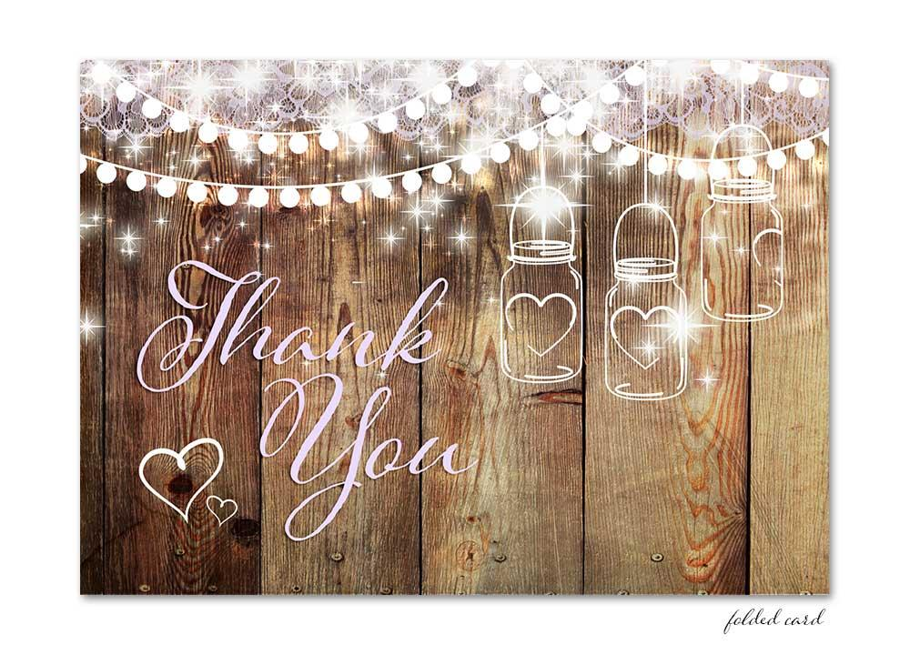 Rustic Mason Jar Folded Thank You Card