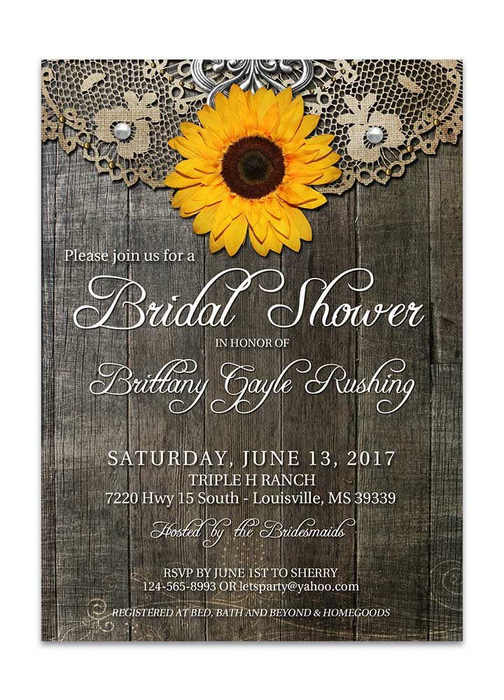 Rustic Sunflower Bridal Shower Invite with Lace
