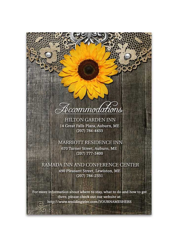 Rustic Sunflower Wedding Insert with Lace