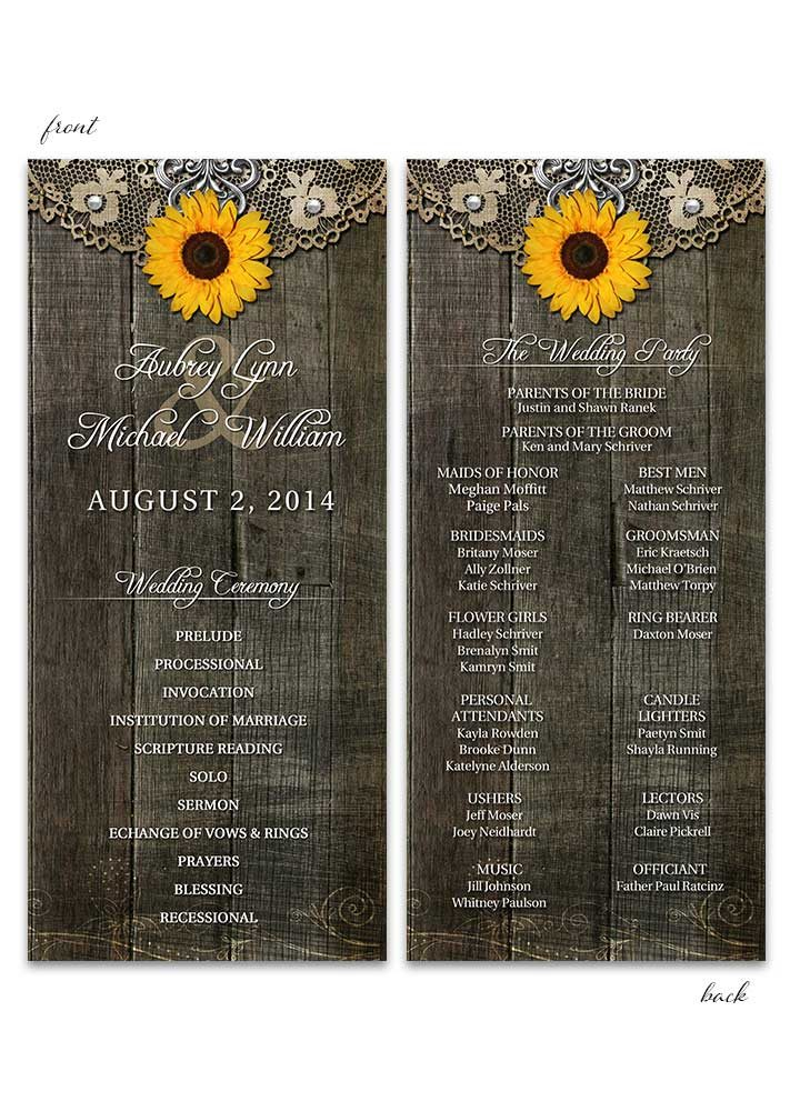 Rustic Sunflower Wedding Program with Lace
