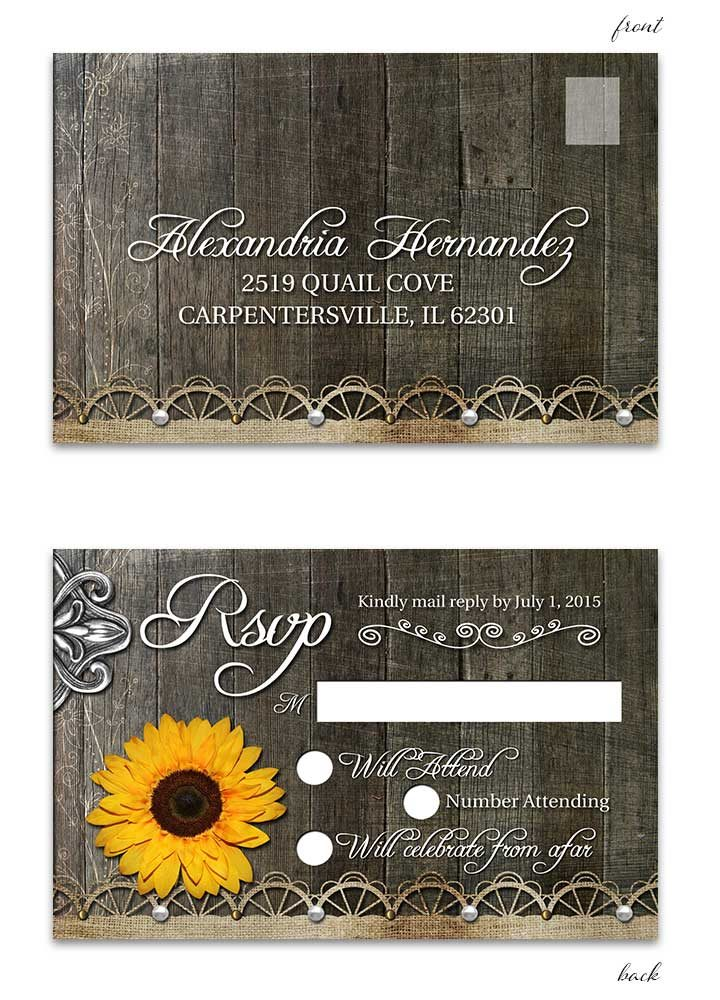 Rustic Sunflower RSVP Postcard with Lace