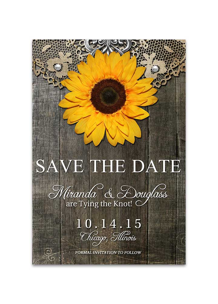 rustic sunflower with doily save the date card