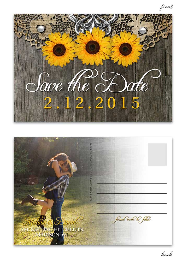 rustic sunflower with doily save the date postcard