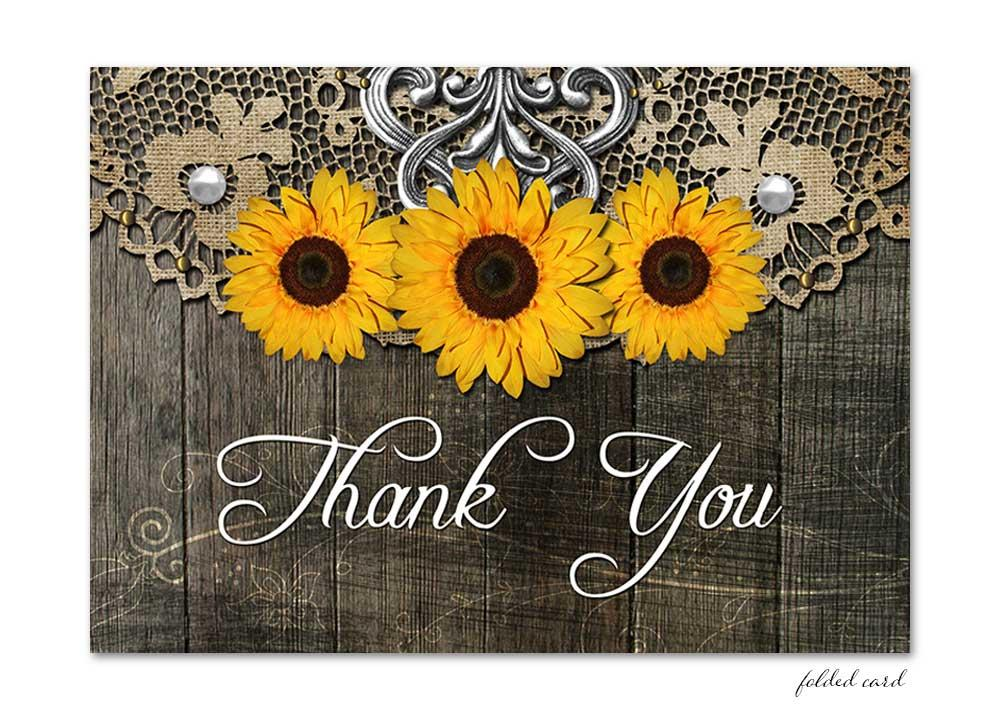 Rustic Sunflower Folded Thank You Card with Lace
