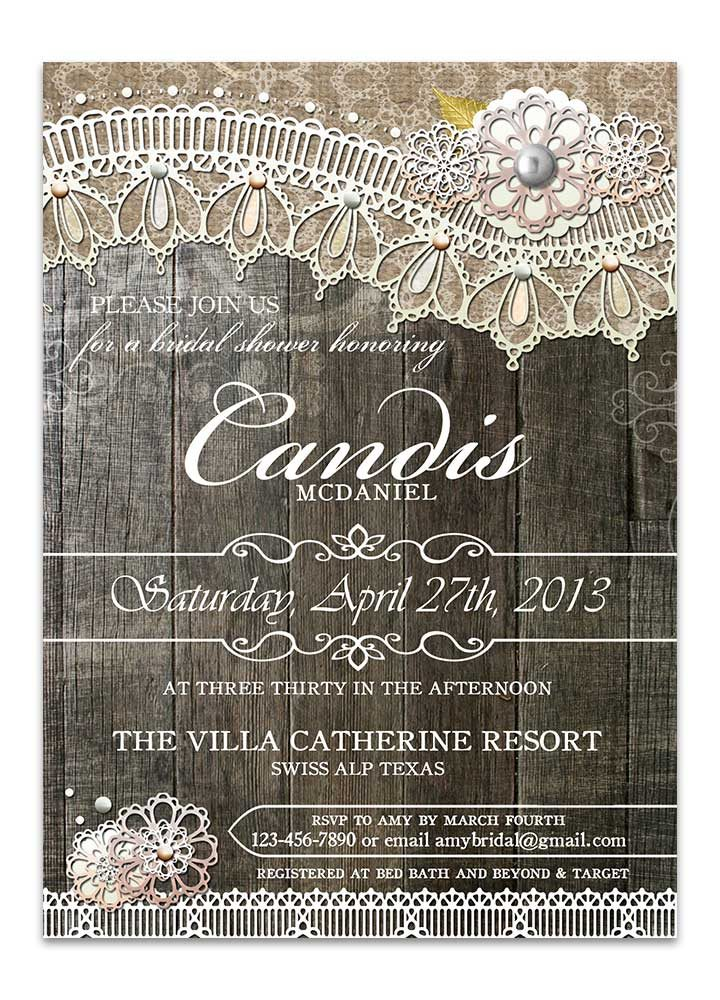 Rustic Wood Lace Bridal Shower Invitation