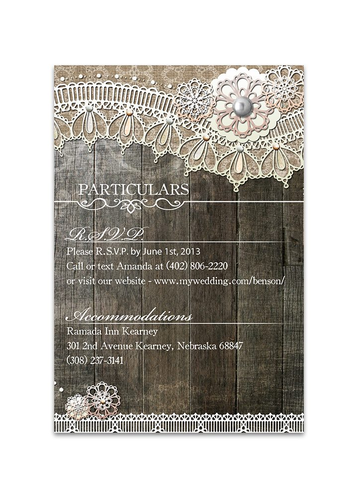 Rustic Wood Lace Wedding Insert