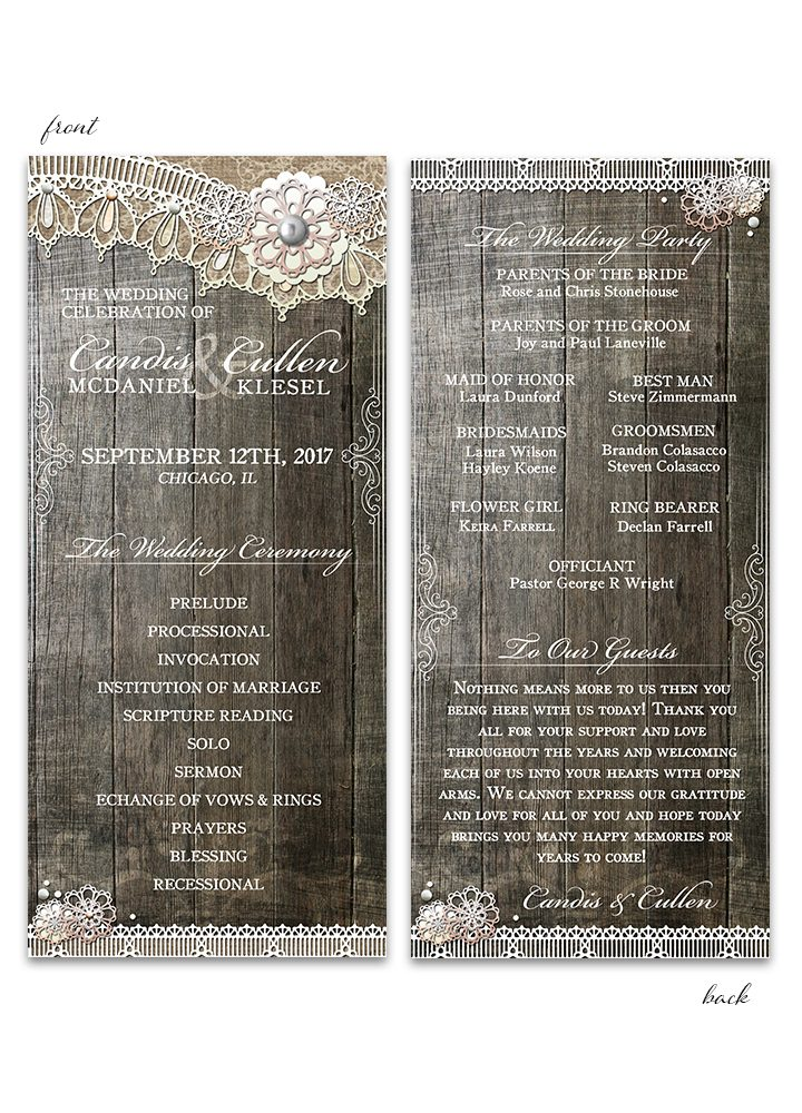 Rustic Wood Lace Wedding Program