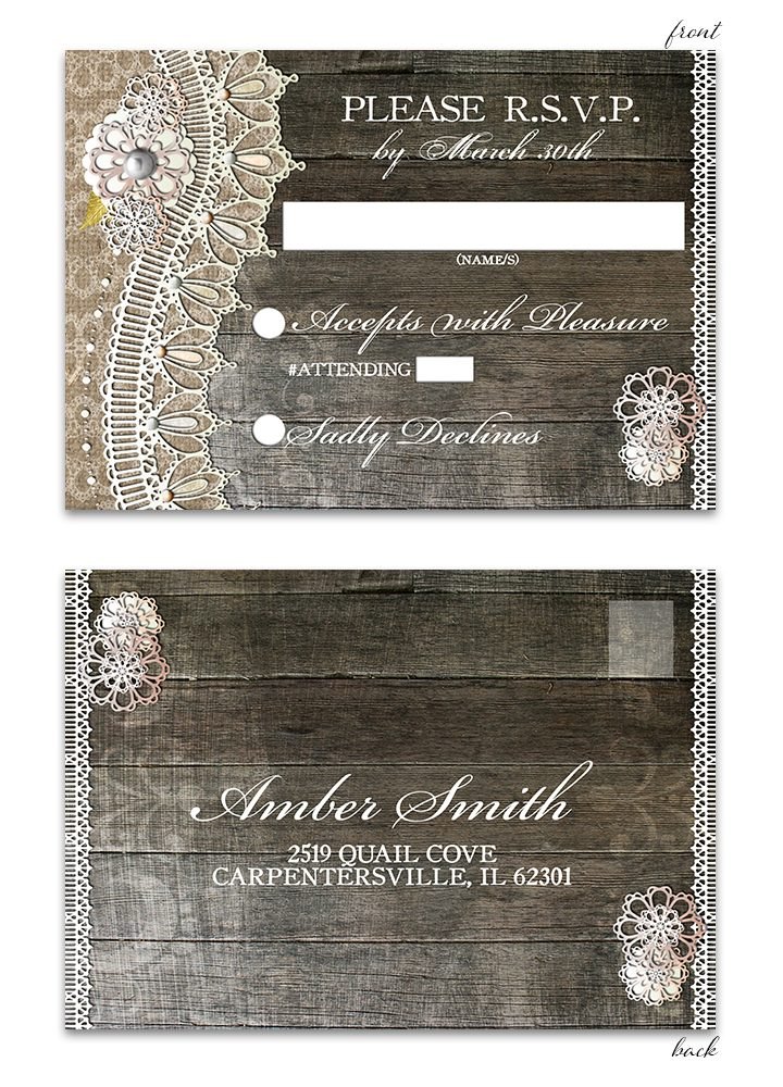 Rustic Wood Lace RSVP Postcard