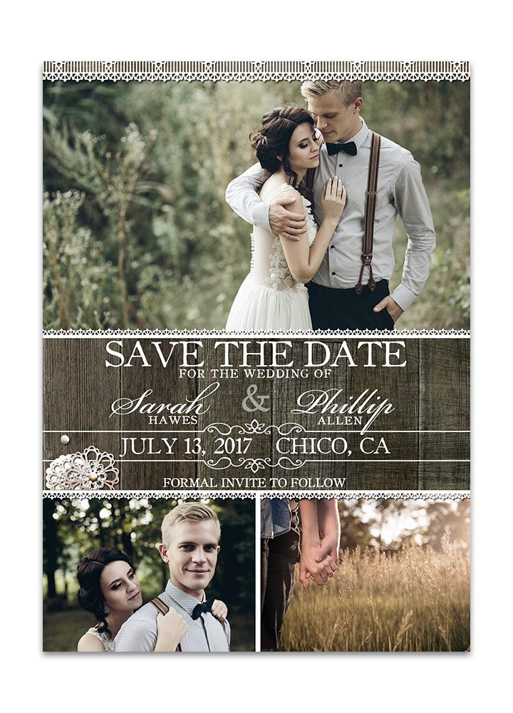 Rustic Wood Lace Save the Date Card