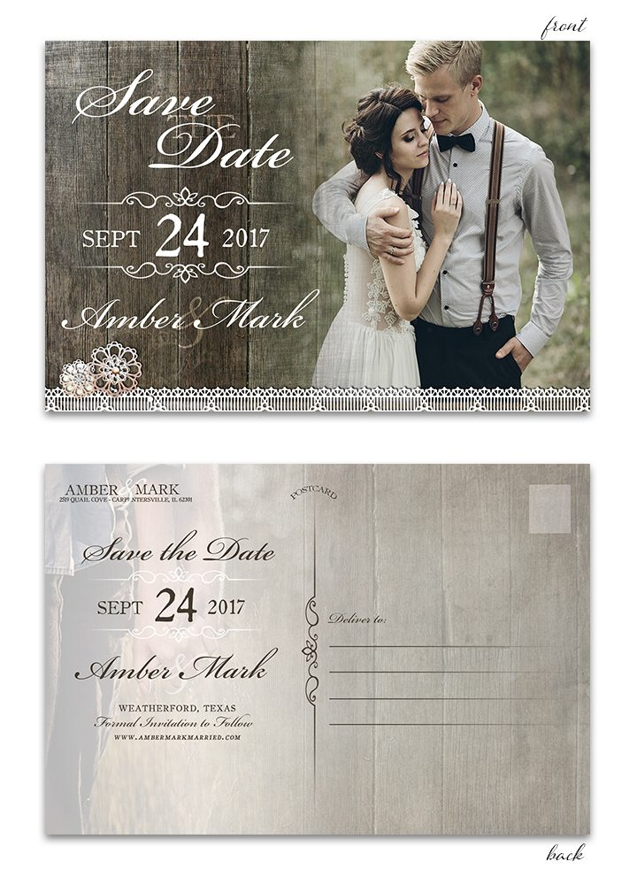 Rustic Wood Lace Save the Date Postcard