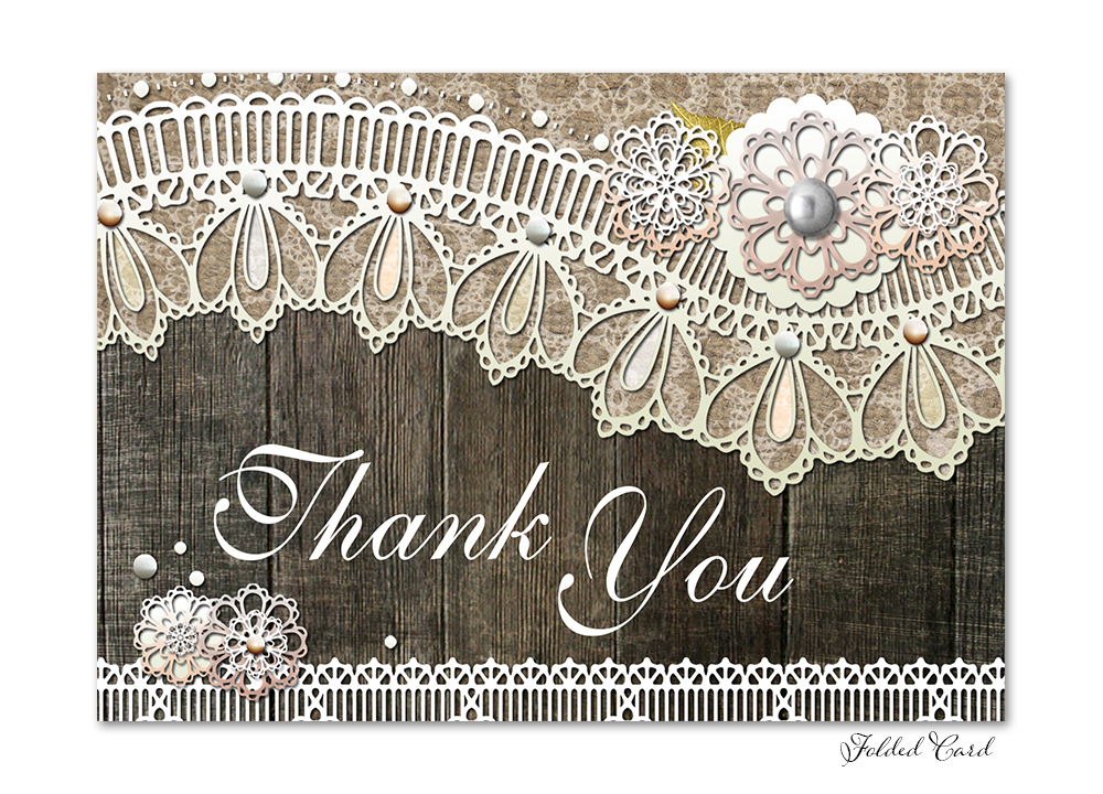 Rustic Wood Lace Folded Thank You Card