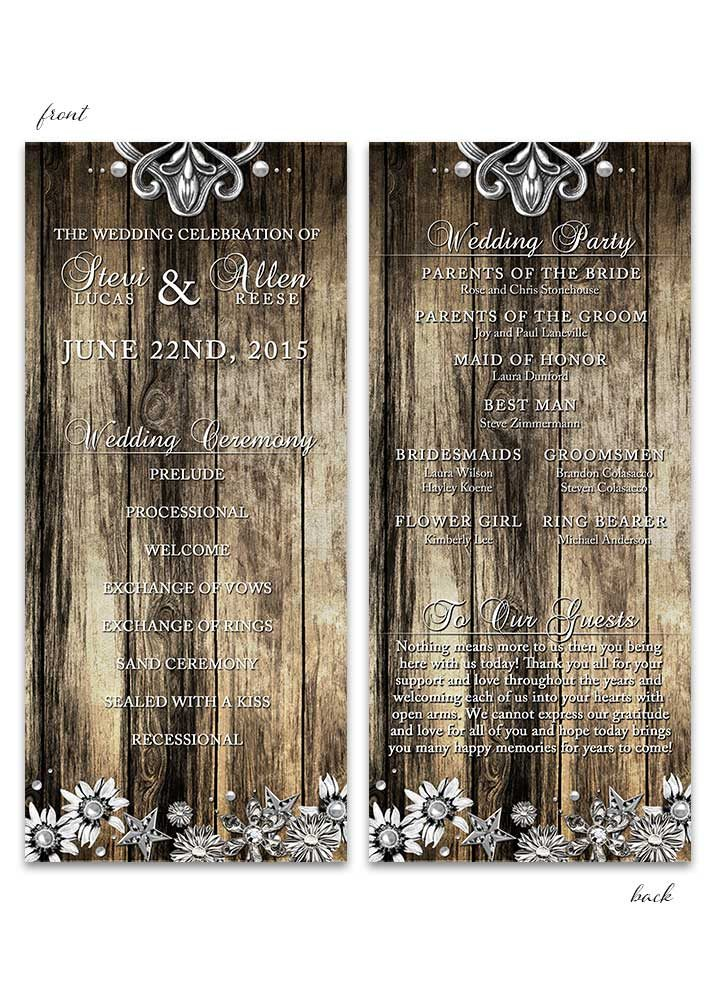 Rustic Wood and Metal Wedding Program
