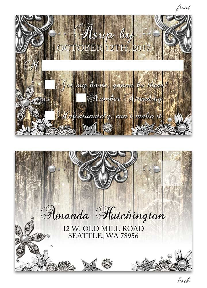 Rustic Wood and Metal RSVP Postcard