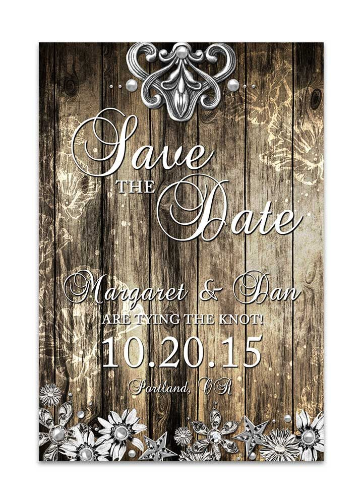 Rustic Wood and Metal Save the Date Card
