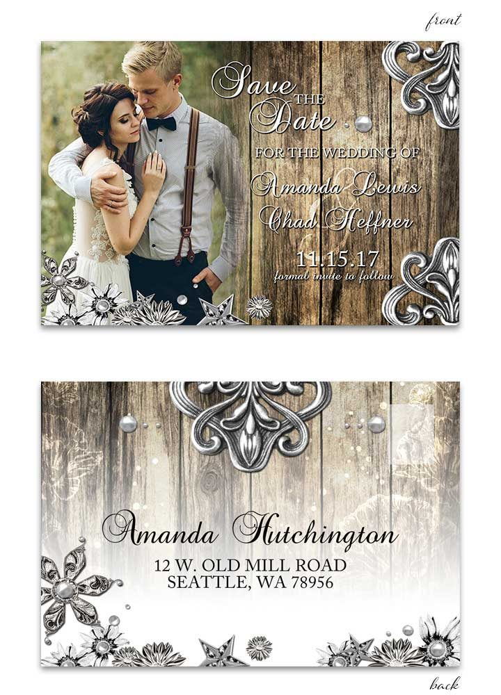 Rustic Wood and Metal Save the Date Postcard